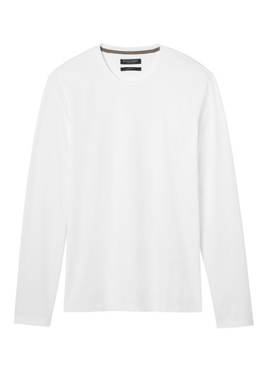 Banana Republic Luxury-Touch Sıfır Yaka T-Shirt Beyaz